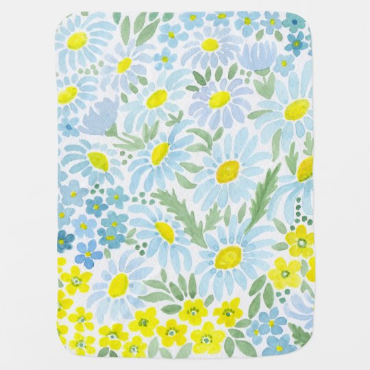 Watercolor . The flowers of the field . Chamomile Swaddle Blankets