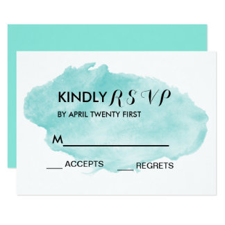 Watercolor Tiffanyblue Black and White RSVP Card