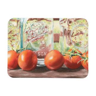 Watercolor Tomatoes Glass Jar Print Magnet