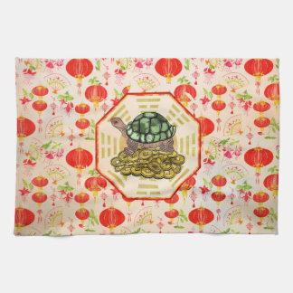 Watercolor Tortoise / Turtle Feng Shui on Bagua Kitchen Towel
