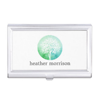 Watercolor Tree Yoga and Wellness Business Card Holder