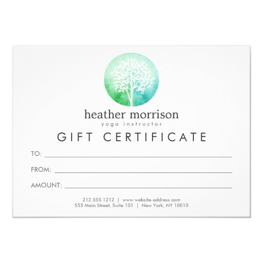 Watercolor Tree Yoga and Wellness Gift Certificate Card