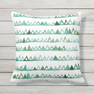 Watercolor Triangles Outdoor Pillow
