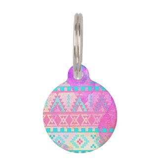 Watercolor Tribal Aztec Pink and Aqua Pattern Pet Tag