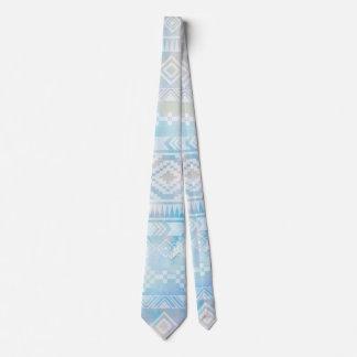Watercolor Tribal Blue Geometric Stripe Tie