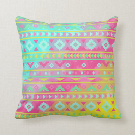 Watercolor Tribal Chic Geometric Pillow