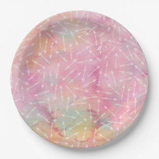 Watercolor Tribal Pink Arrows Paper Plate