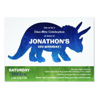 "Watercolor Triceratops Dinosaur Birthday Party 5"" X 7"" Invitation Card"