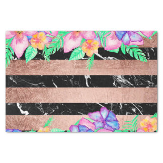 Watercolor tropcal floral rose gold marble stripes tissue paper