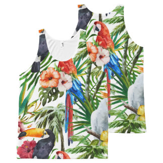 Watercolor tropical birds and foliage pattern All-Over-Print tank top