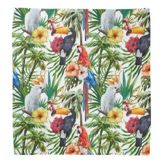 Watercolor tropical birds and foliage pattern bandana