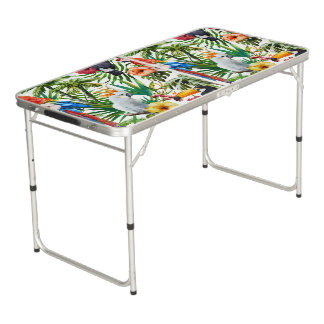 Watercolor tropical birds and foliage pattern beer pong table