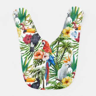 Watercolor tropical birds and foliage pattern bib