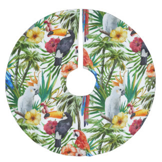 Watercolor tropical birds and foliage pattern brushed polyester tree skirt