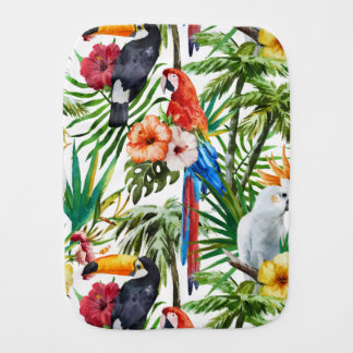 Watercolor tropical birds and foliage pattern burp cloth