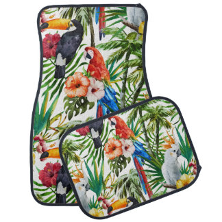 Watercolor tropical birds and foliage pattern car mat