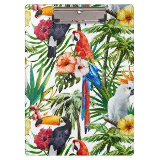 Watercolor tropical birds and foliage pattern clipboard