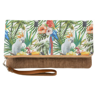 Watercolor tropical birds and foliage pattern clutch