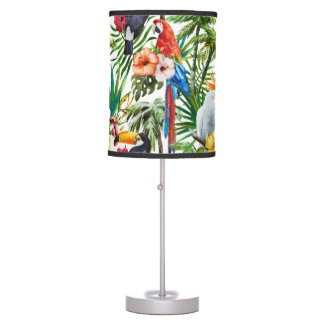 Watercolor tropical birds and foliage pattern desk lamps