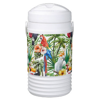 Watercolor tropical birds and foliage pattern drinks cooler