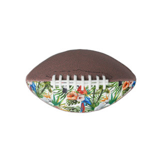 Watercolor tropical birds and foliage pattern football