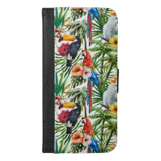Watercolor tropical birds and foliage pattern iPhone 6/6s plus wallet case