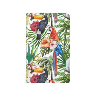 Watercolor tropical birds and foliage pattern journal