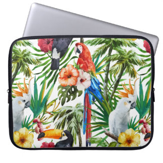 Watercolor tropical birds and foliage pattern laptop sleeve
