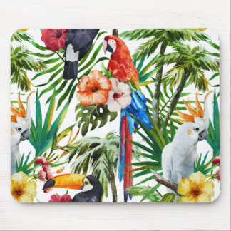 Watercolor tropical birds and foliage pattern mouse pad