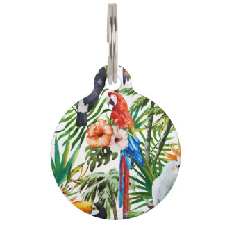 Watercolor tropical birds and foliage pattern pet tag