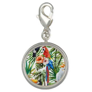 Watercolor tropical birds and foliage pattern photo charms