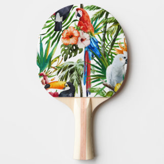 Watercolor tropical birds and foliage pattern ping pong paddle