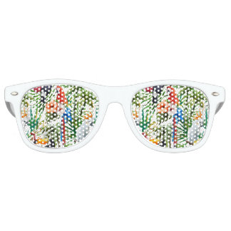 Watercolor tropical birds and foliage pattern retro sunglasses