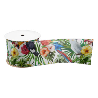 Watercolor tropical birds and foliage pattern satin ribbon