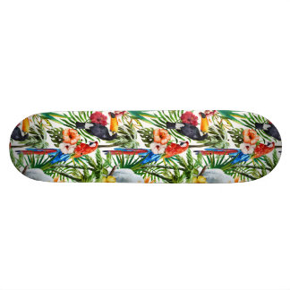 Watercolor tropical birds and foliage pattern skate board decks