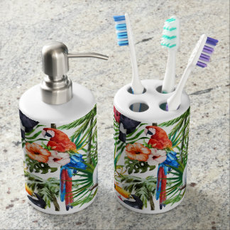 Watercolor tropical birds and foliage pattern soap dispenser and toothbrush holder