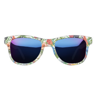 Watercolor tropical birds and foliage pattern sunglasses