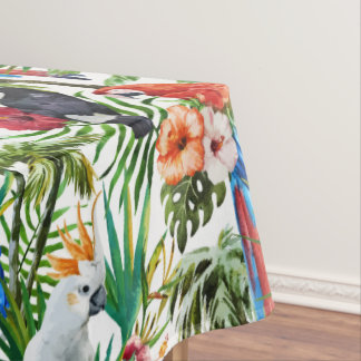 Watercolor tropical birds and foliage pattern tablecloth
