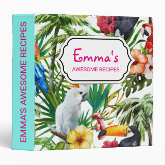 Watercolor tropical birds and foliage pattern vinyl binder