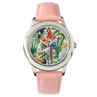 Watercolor tropical birds and foliage pattern watch