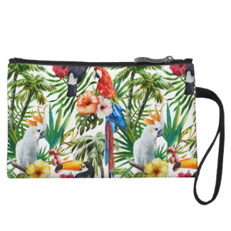 Watercolor tropical birds and foliage pattern wristlet