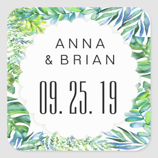 Watercolor Tropical Botanical Leaves Wedding Square Sticker