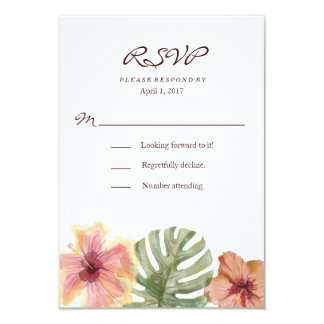 Watercolor Tropical Destination Wedding RSVP Card