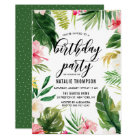 Watercolor Tropical Floral Frame Birthday Party Card
