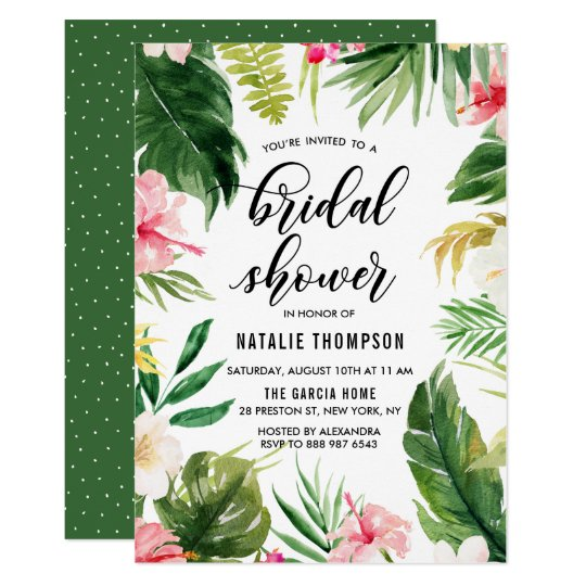 Watercolor Tropical Floral Frame Bridal Shower Card