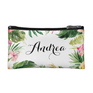 Watercolor Tropical Floral Frame Cosmetic Bag