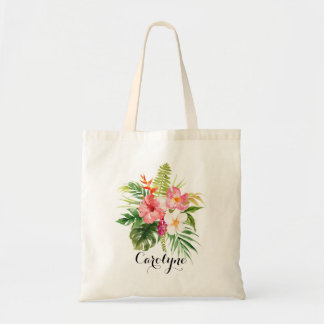 Watercolor Tropical Flowers Bouquet Personalized Tote Bag
