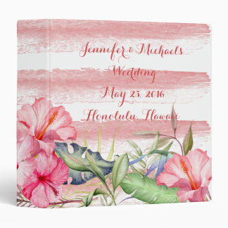 Watercolor Tropical Flowers Leaves Wedding Planner 3 Ring Binders