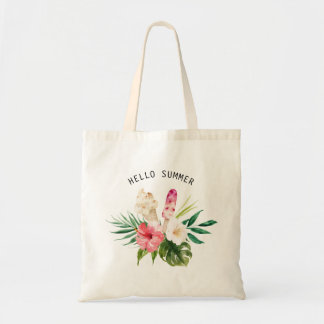 Watercolor Tropical Flowers, Leaves with Ice Cream Tote Bag