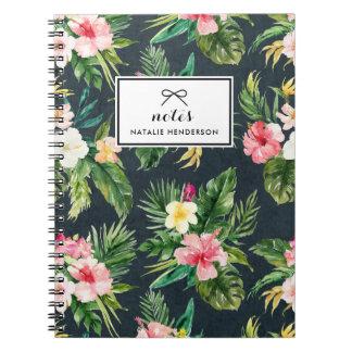 Watercolor Tropical Flowers on Chalkboard Custom Notebook